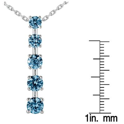 2CTW Carat Blue Diamond Journey Pendant in 10K White Gold