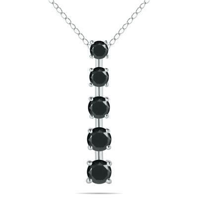 1/4 Carat TW Black Diamond Journey Pendant in 14K White Gold