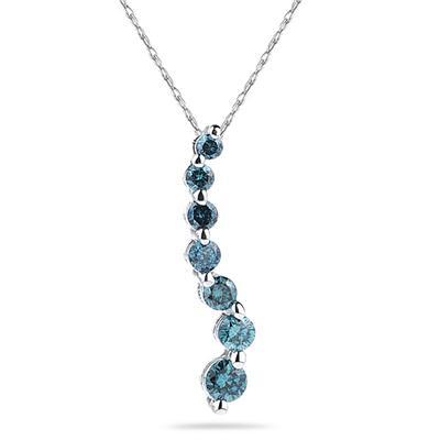 1/4 CTW Blue Diamond S Journey Pendant in 14K White Gold
