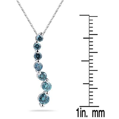 1/2 Carat TW Blue Diamond S Journey Pendant in 14K White Gold