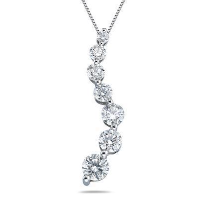 3/4 Carat Diamond Journey Pendant in 14K White Gold (H-I, SI2-SI3)