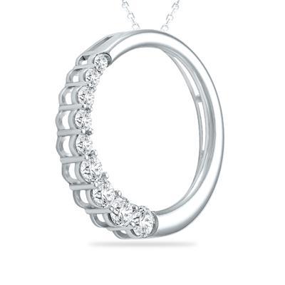 1 Carat TW Diamond Circle Journey Pendant in 10K White Gold