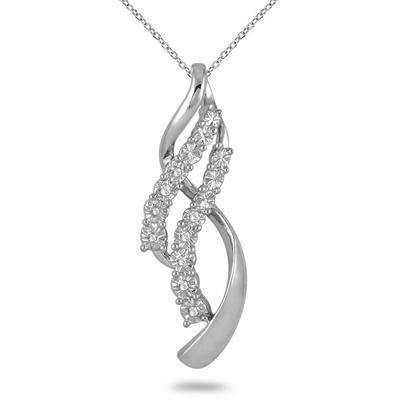 Diamond Double Twist Pendant in .925 Sterling Silver Sterling Silver
