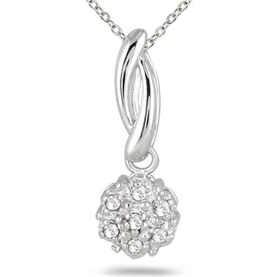 Round Cut Cubic Zirconia Cluster Pendant Necklace in 925 Sterling Silver