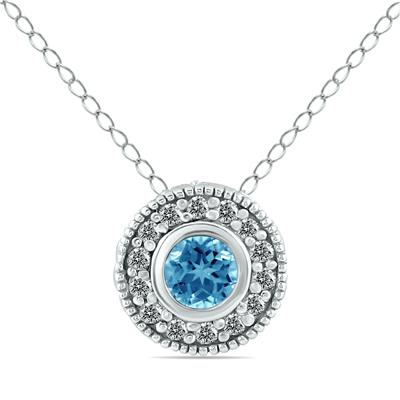 3/8 Carat TW Blue and White Diamond Bezel Pendant in 10K White Gold