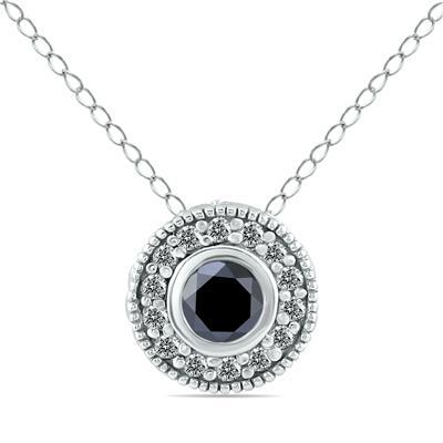 1/3 Carat TW Black and White Diamond Pendant in 10K White Gold
