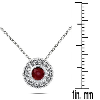 1/6 CTW Diamond and Ruby Pendant in 10K White Gold