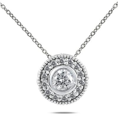 3/8 Carat TW Diamond Bezel Pendant in 10K White Gold