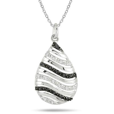 1/10 Carat T.W Black and White Diamond Pendant in .925 Sterling Silver