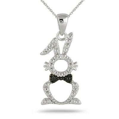 Diamond Rabbit Pendant in .925 Sterling Silver