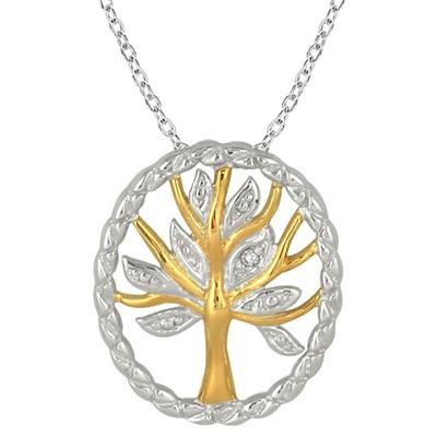 14K Gold Plated Diamond Tree of Life Pendant in .925 Sterling Silver