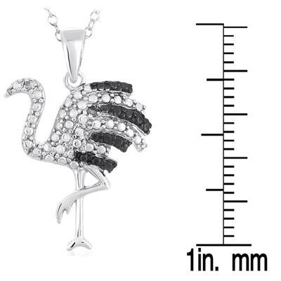 Black and White Diamond Flamingo Pendant in Rhodium Plated Brass