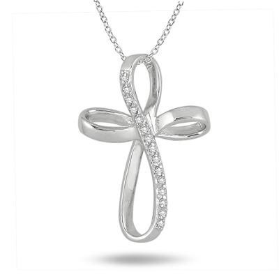 1/6 Carat T.W Diamond Cross Pendant in .925 Sterling Silver