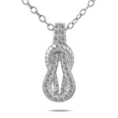 1/10 Carat Diamond Knot Pendant in 10K White Gold