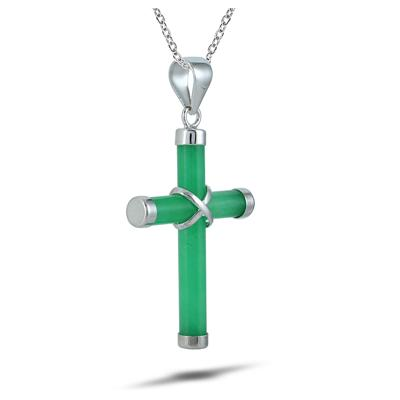 All Natural Green Jade Cross Pendant in 925 Sterling Silver