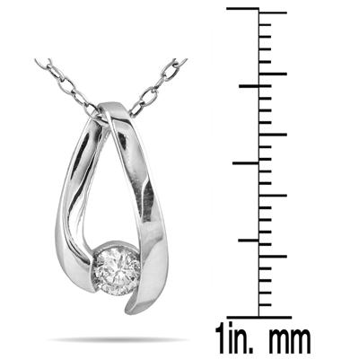 1/4 Carat Diamond Loop Pendant Necklace 10K White Gold