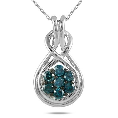1/2 Carat TW Blue Diamond Pendant in 10K White Gold
