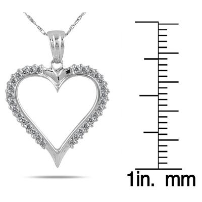1/3 Carat TW Diamond Heart Pendant in 10K White Gold