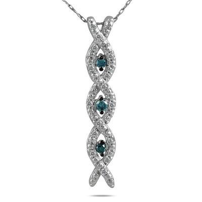 1/5 Carat TW Blue and White Diamond Pendant in 10K White Gold