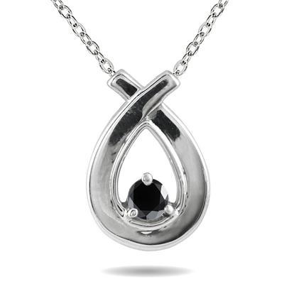 Black Diamond Loop Pendant in 10K White Gold