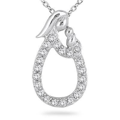 1/5 Carat TW Mother and Baby Diamond Pendant in 10K White Gold