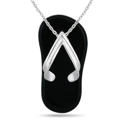 Summer Slipper Natural Onyx Pendant in .925 Sterling Silver