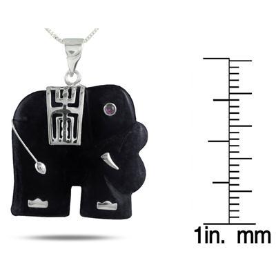 Black Onyx Elephant Pendant in .925 Sterling Silver Pendant
