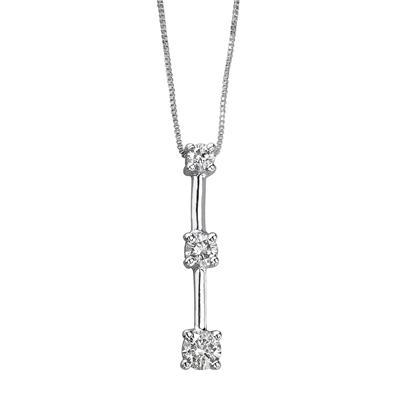 1/7CTW Three Stone Diamond Drop Pendant 10K White Gold