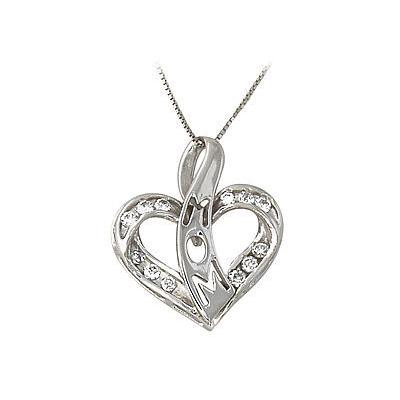 Diamond Heart Ribbon Laced MOM Pendant 14k White Gold