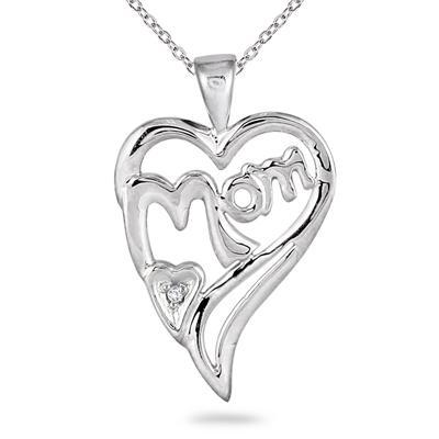 MOM Diamond Heart Pendant 14K White Gold