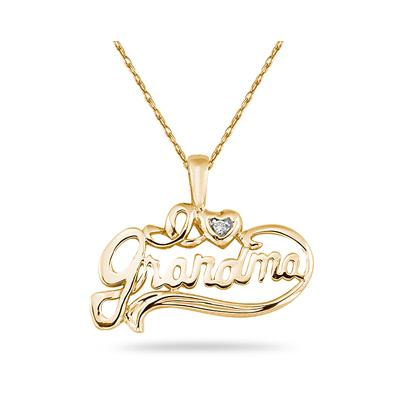 14K Yellow Gold and Diamond Grandmother Pendant