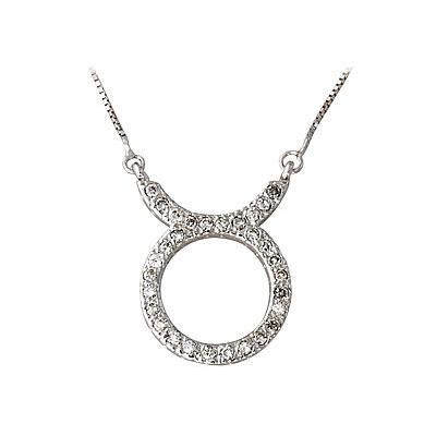 1/3 Carat Diamond Taurus Zodiac Pendant 14K White Gold (April 20 - May 20)