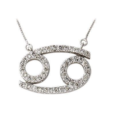 .48ctw Diamond Cancer Zodiac Pendant 14K White Gold (June 22 - July 22)