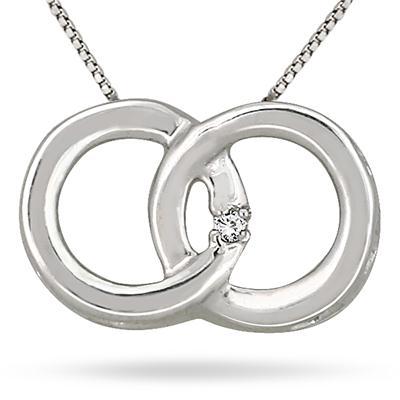 Diamond Circle Link Pendant in 14K White Gold