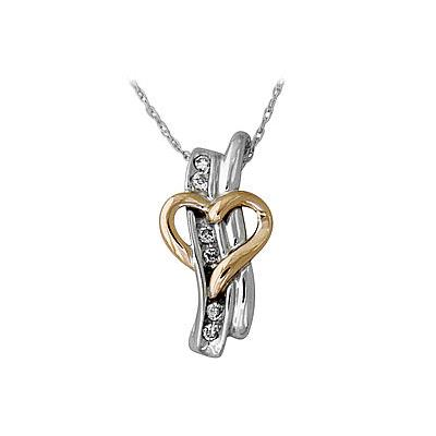 Heart and Diamond Stick Pendant in 14kt Two-Tone Gold