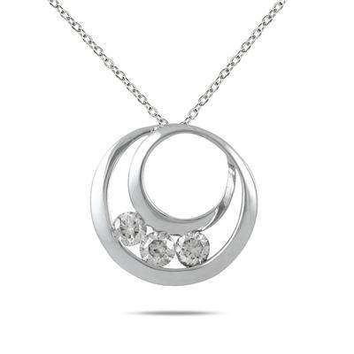 1/2 Carat TW Three Stone Circle Pendant in 14K White Gold