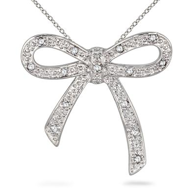 1/10 Carat Diamond Ribbon Pendant in .925 Sterling Silver