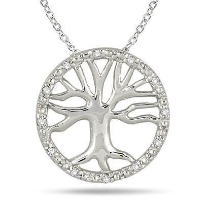 Tree of Life Diamond Pendant in .925 Sterling Silver