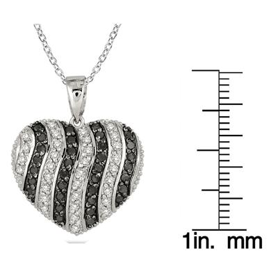 Reversible 2 Carat Black and White Diamond Pendant in .925 Sterling Silver