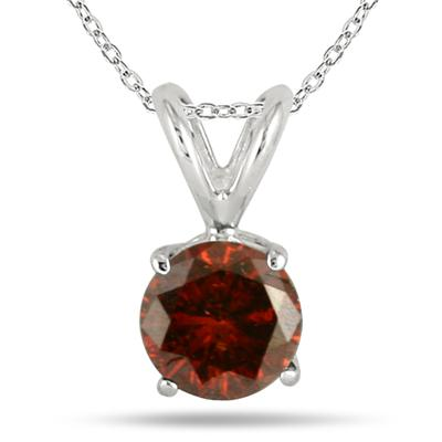 1 Carat Cognac Diamond Solitaire Pendant in 14K White Gold