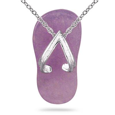 Natural Lavender Jade Slipper Pendant in .925 Sterling Silver