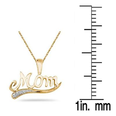 18K Gold Plated Diamond Mom Pendant in .925 Sterling Silver