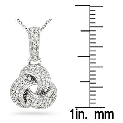 1/4 Carat Diamond Love Knot Pendant in 14K White Gold