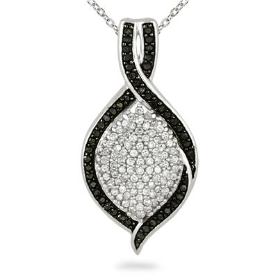 3/4 Carat TW Black and White Diamond Pendant in 14K White Gold