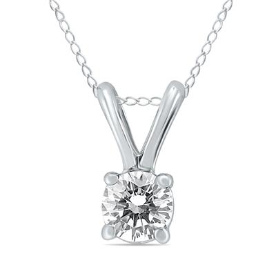 1/2 Carat Diamond Solitaire Pendant in 10K White Gold