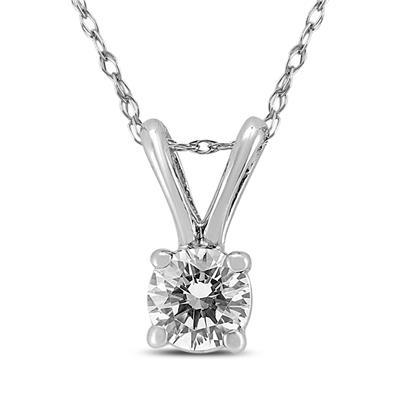 1/2 Carat Diamond Solitaire Pendant in 10K White Gold