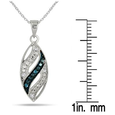 Blue and White Diamond Pendant in .925 Sterling Silver