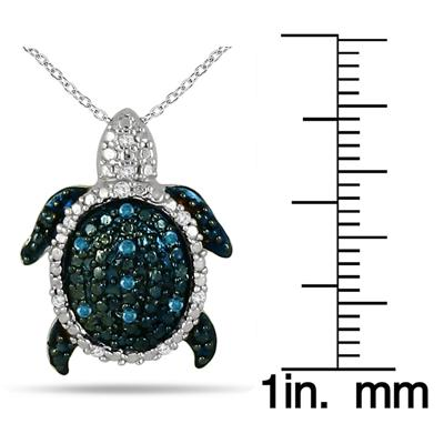 1/8 Carat Blue and White Diamond Turtle Pendant in .925 Sterling Silver