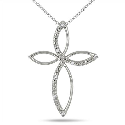 Diamond Cross Pendant in .925 Sterling Silver