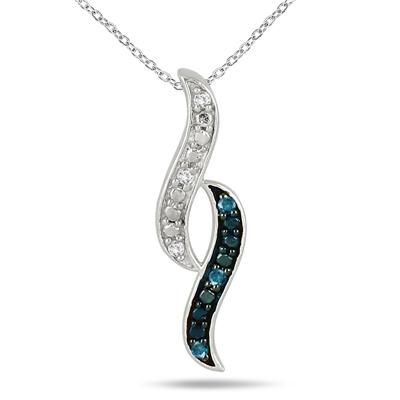 1/10 Carat Blue and White Diamond Pendant in .925 Sterling Silver